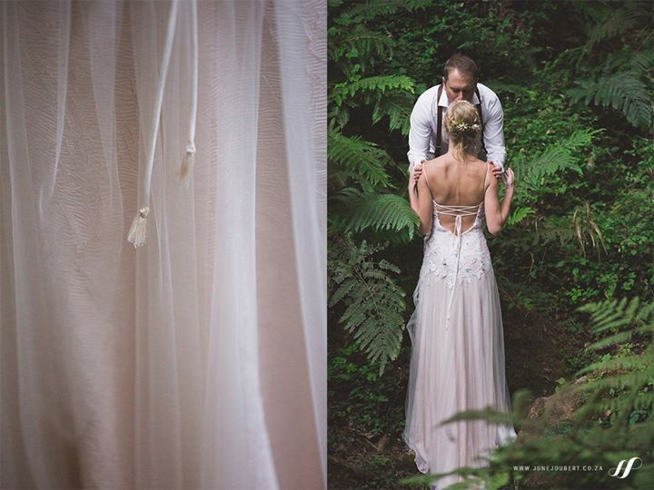 Dimity created cream & gold tassels for EcoBride, Annemieke's bridal gown. The tassels were dotted throughout the gown to add more whimsy to her look.