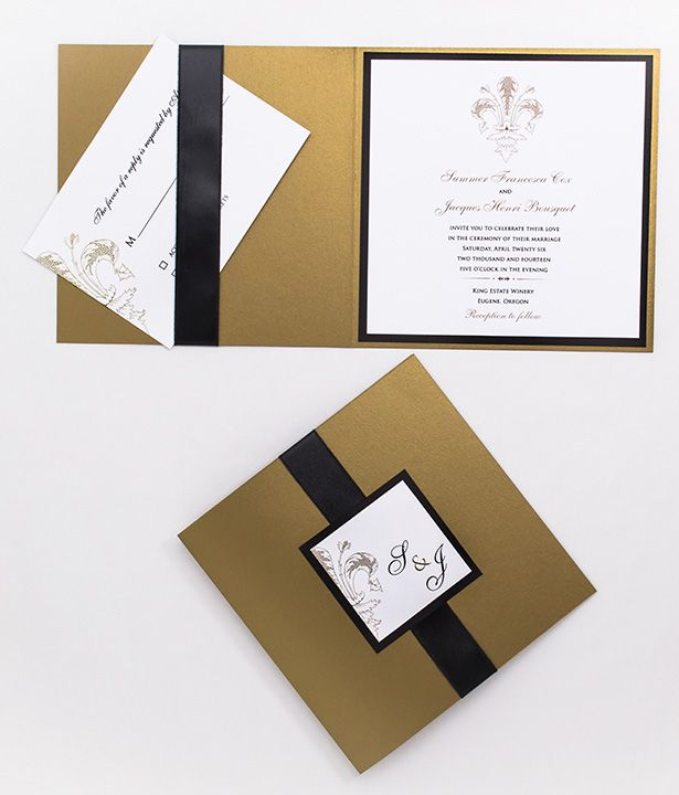 Ornate Fleur de Lis Ribbon Pocket Invitations available in large selection of color combinations from Wine Country Occasions