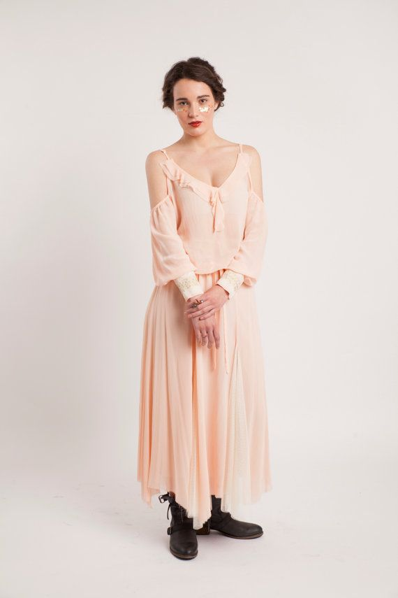 SALEPeach Rose Georgette Maxi Skirt with Mesh door NaliniShop