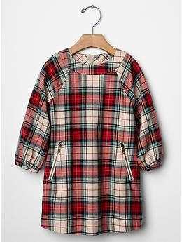 Plaid zip shift dress from Baby Gap! In stores now sizes up to 5T! Adorable by itself or layered with fun boots!