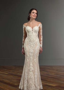 Martina Liana Wedding Dresses  – Lace Wedding Dress with Off-the-Shoulder Long Sleeves