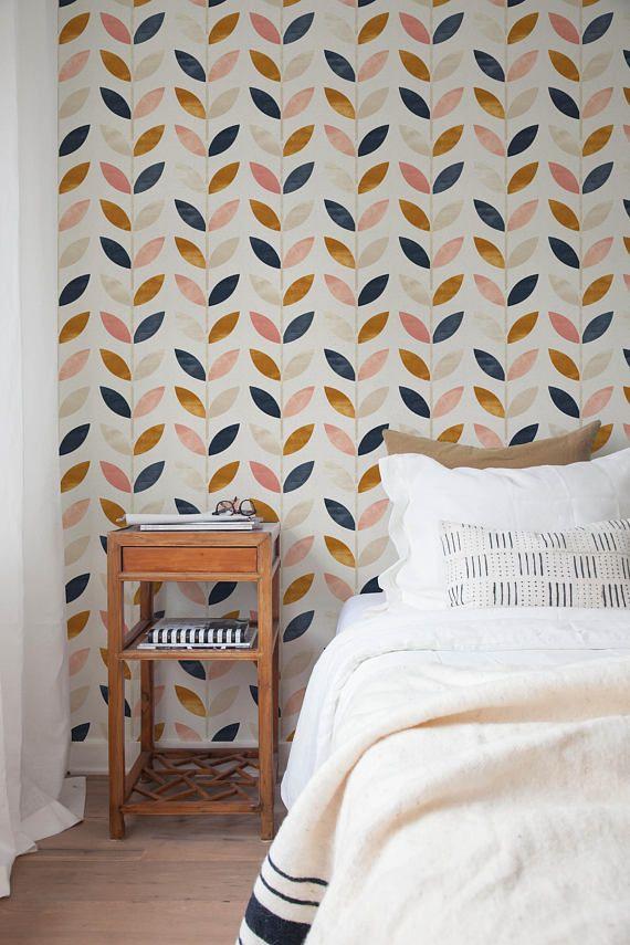 Removable Wallpaper Peel And Stick Wallpaper Wall Paper Wall Etsy Removable Wallpaper Wall Wallpaper Blue Geometric Wallpaper