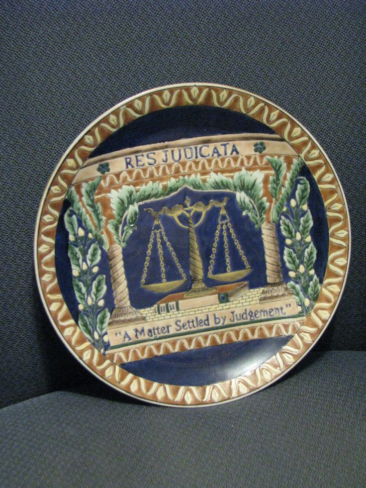 """Res Judicata"" decorative law-themed plate"