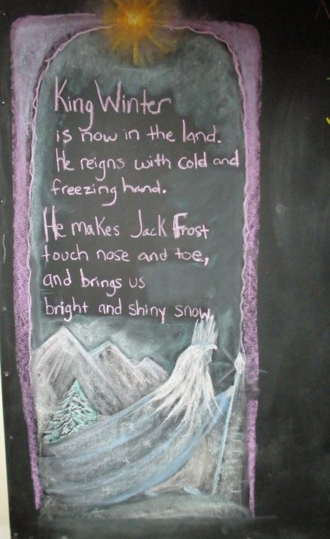 Winter ~ Snow ~ King Winter Poem and chalkboard drawing