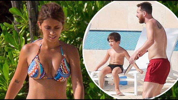 Newlyweds Lionel Messi and bikini-clad Antonella Roccuzzo take to the be...