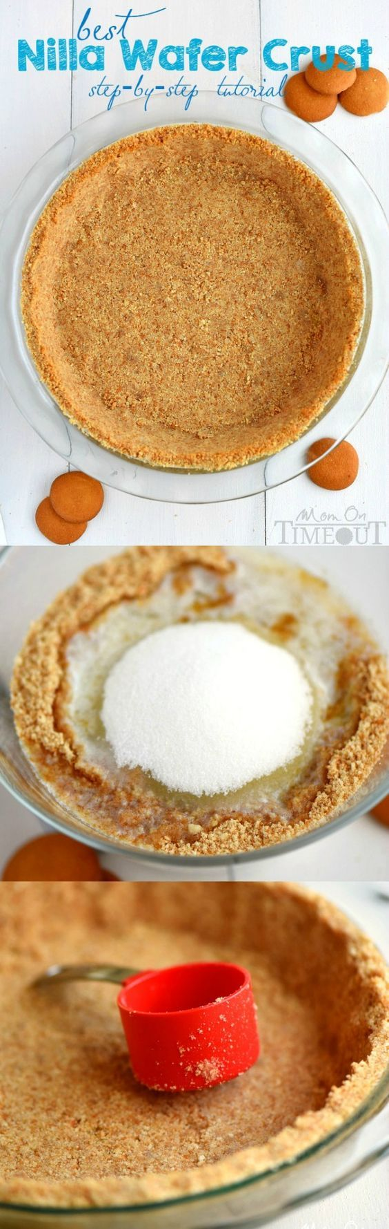 A step by step tutorial to your new favorite pie crust recipe! This is the BEST Nilla Wafer Pie Crust ever and so easy too!   MomOnTmeout.com