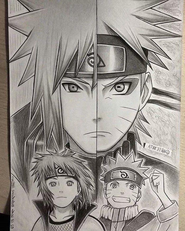 Anime Drawing Ideas Anime Characters Split Black And White Pencil Sketch In 2020 Naruto Sketch Naruto Minato Naruto Drawings