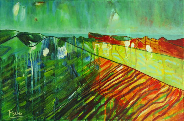 'Moon Valley', acrylic on canvas, #art #painting #followart #canvas #Chile #dessert #artist #colorful #fischerart