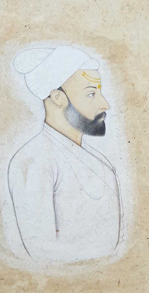 Self-Portrait of a Master Manaku by Manaku c 1730 Govt Art Gallery, Chandigarh