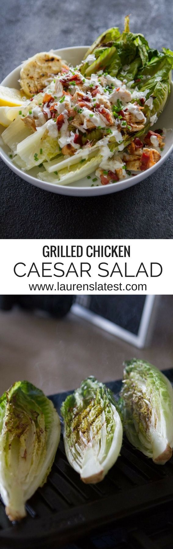 Grilled Chicken Caesar Salad....a healthy lunch or dinner that tastes amazing! If you haven't grilled romaine lettuce before, you will love this updated classic!