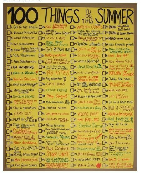 100 Things To Do This Summer Make Your Own List Bucket