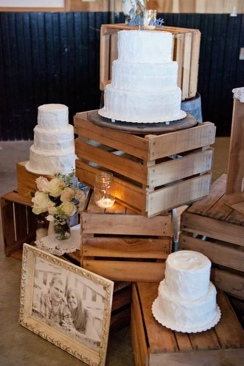 Rustic wedding cake trio display space | Amanda Donaho Photography vintage boxes for display of pies and/or cake