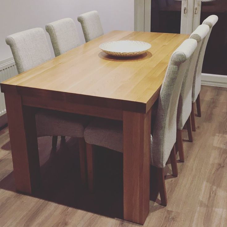 "Contemporary Chunky 5ft x 2ft 6"" Natural Solid Oak Dining Table from Oak Furniture Land"