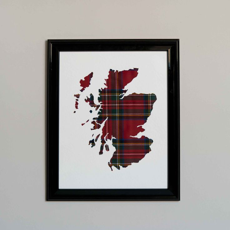 Royal Stewart tartan map of Scotland; black gloss frame