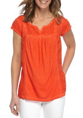 New Directions Weekend Women's Dot Embellished Burnout Tee -  - No Size