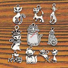 10 шт. Смешанные Тибетский Серебряный Позолоченный Cat Футбол древо Жизни Подвески Подвески Изготовление Ювелирных Изделий Аксессуары Браслет Ручной Работы Ремесел(China (Mainland))
