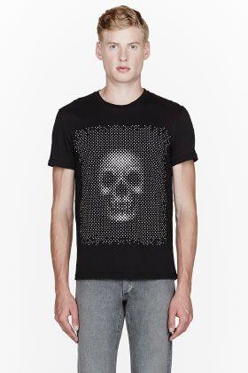 Alexander McQueen Black Dotted Skull T-shirt for men