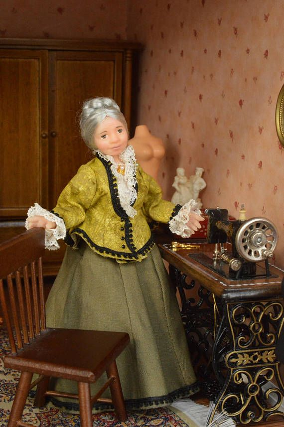 Miniature Doll Polymer Clay Grandmother Seamstress Dollhouse
