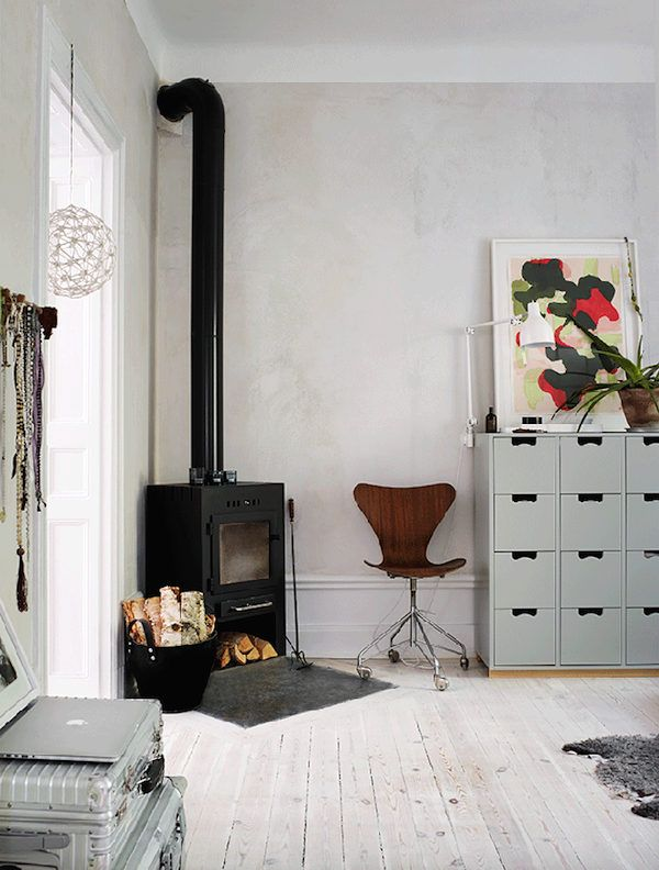 Wood burning stove in the sitting room of a charming Stockholm flat. Credits: Patric Johansson / Maria Löw.