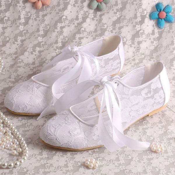 37.84$  Watch here - Magic Custom Handmade white Lace Ladies Elegant Flat Shoes Wedding Lace-up Size 7  #buychinaproducts