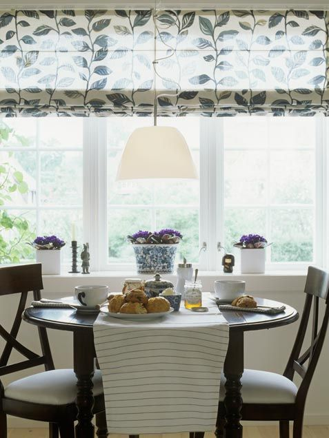 One wide roman shade is a streamlined way to cover a large bay window. -kitchen