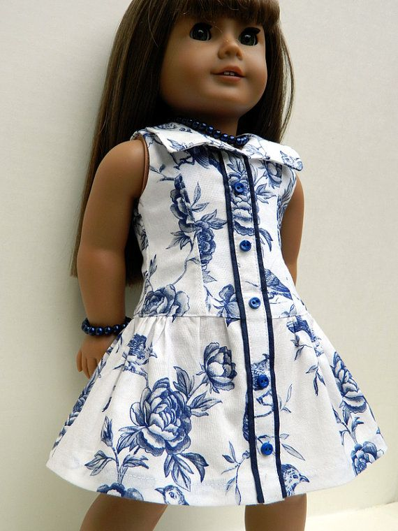 American Girl Doll Clothes  Blue and White Cotton by 18Boutique, $50.00