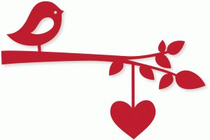 Silhouette Design Store - View Design #74007: bird branch w/heart string