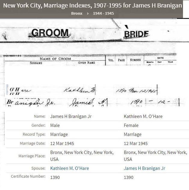 James & Kathleen Branigan married March 12, 1945. License #1390