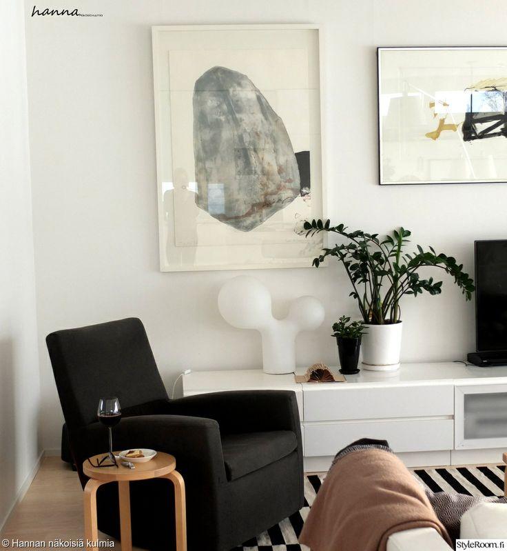 olohuone,nojatuoli,musta,valkoinen,artek