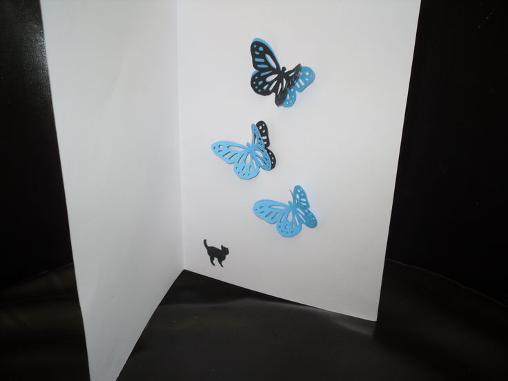 card with butterflies and a cat