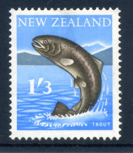 NZ Error 1960 Pict 1/3 Trout, missing red, key error, popular theme,