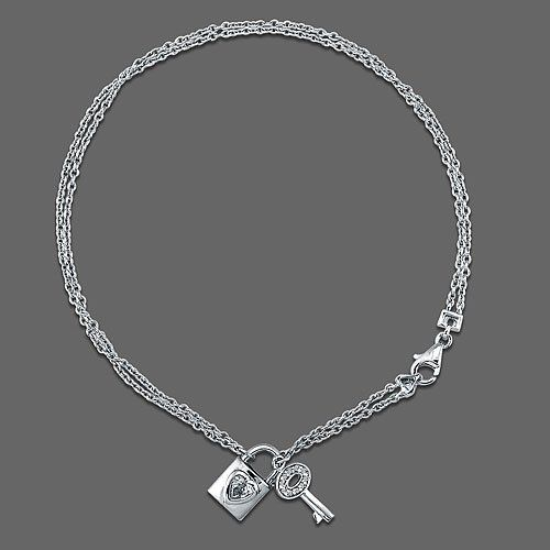Sterling Silver Anklet Ankle Bracelet with Lock