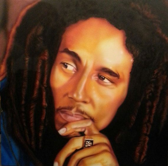 Bob Marley Airbrushed Painting on Wood  4 foot x by ChrisTheArtGuy