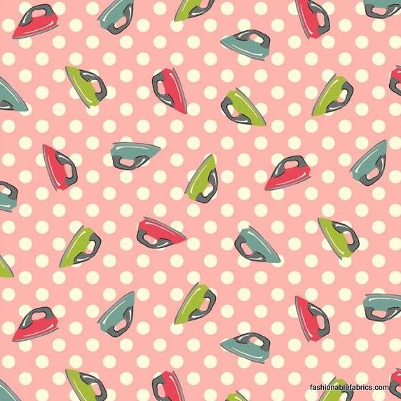 Fabric Washday Irons On Pink By Makower Uk Fabric