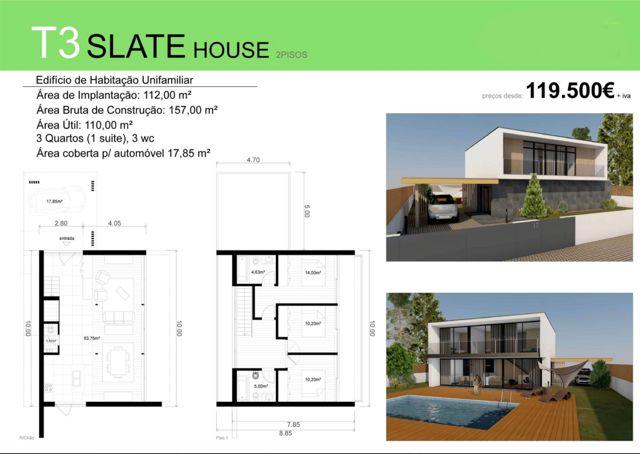 T3 SLATE HOUSE VERSÃO 2  - Deixe a realidade sobrepor-se à imaginação... SLATE HOUSE para si e para a sua família, desde €119 500 euros (+iva). Contacte 968 542 583