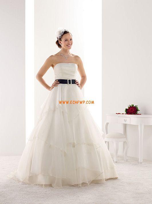 Kostel Délka dvorní Bez ramínek Svatební šaty 2014