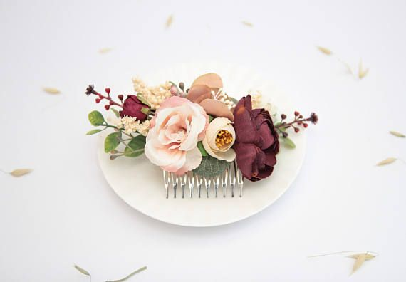 Burgundy Beige Flower Comb Bridesmaid Floral Comb Outdoor