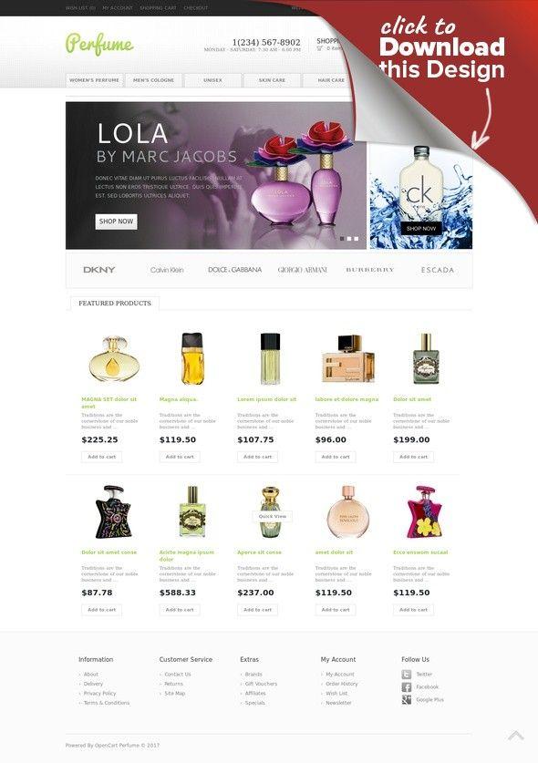Perfumes Store OpenCart Template E-commerce Templates, OpenCart Templates, Fashion & Beauty, Beauty Templates, Cosmetics Store Templates