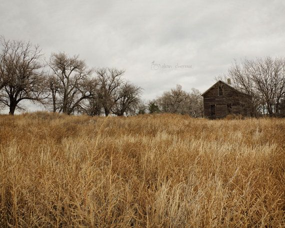 Rustic Country Farmhouse Photograph Fall Prairie by AgedPage