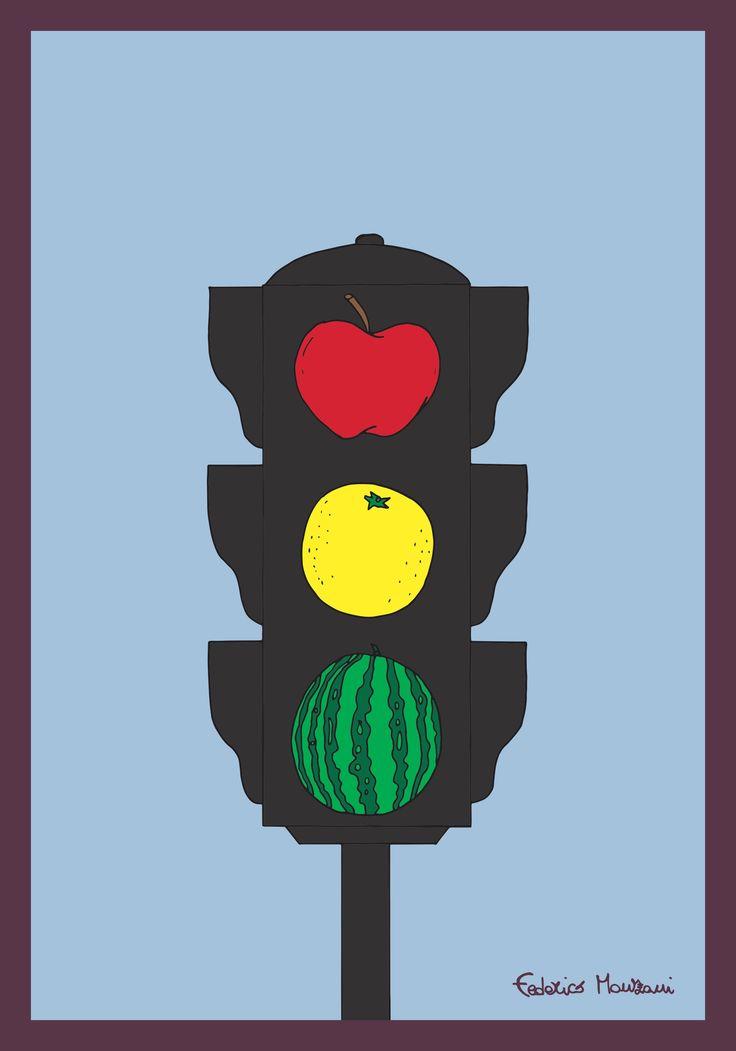 Traffic Light Fruits by Federico Monzani