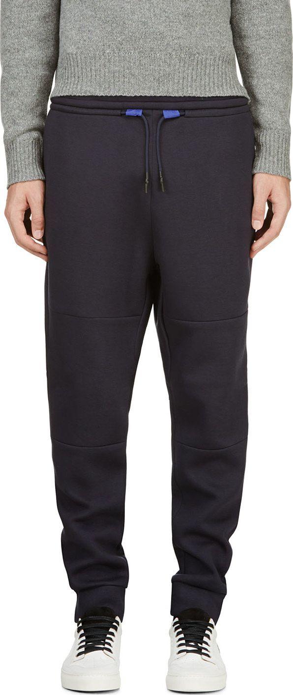T by Alexander Wang: Navy Double Knit Scuba Lounge pants | SSENSE