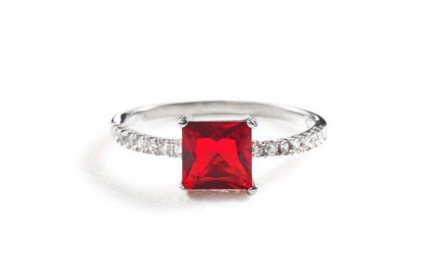 Princess created Ruby cubic zirconia ring Silver