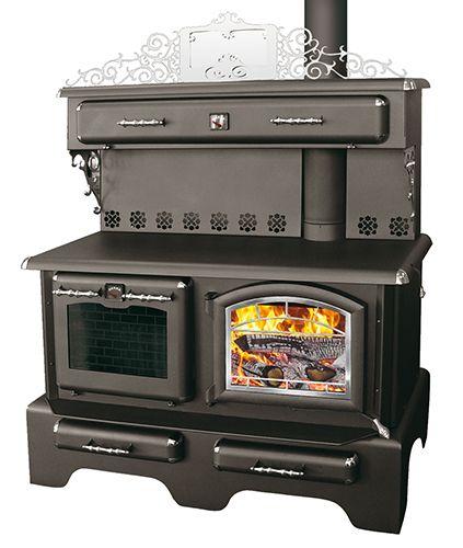 CUISINIERE A BOIS/FOUR : Cuisinière au bois avec four pour la cuisson. Réchaud et indicateur de chaleur. Poignées et coins décoratifs chrome. Chauffe jusqu'à 2300 pieds carrés. Efficacité 78.6% (LHV). Accepte des bûches de 19 pouces. Porte de fonte vitrée. Norme environnemental B-415,1-10 (1.34 GR/H). OPTION 1: ventilateur (007-1044). OPTION 2: Dessus déccoratif chrome et miroir (code BMR 046-9249)