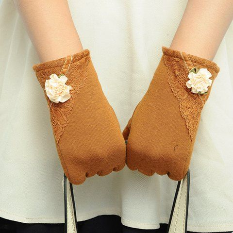 Pair of Stylish Lace and Small Flower Embellished Touch Screen Gloves For Women