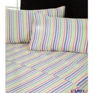 flannelette candy stripe sheets. We had these...so cosy in winter. Mum probably still has some somewhere!
