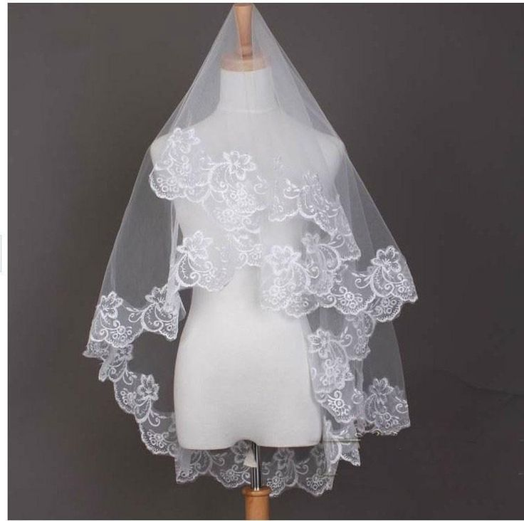White Applique Short Fashion Cheap Wedding Veils Cheap Bridal Veil velos de novia voile mariage duvak voile de mariee