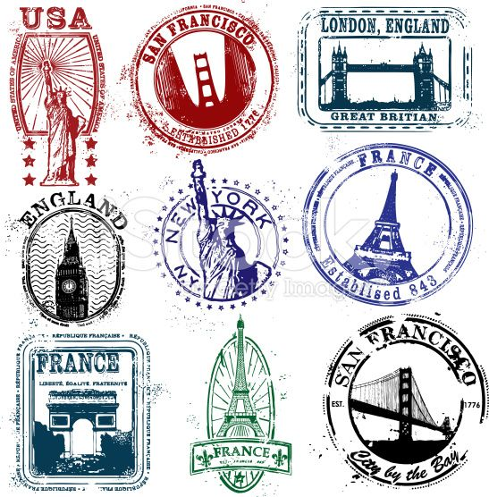 Stylized Stamps of the West royalty-free stock vector art