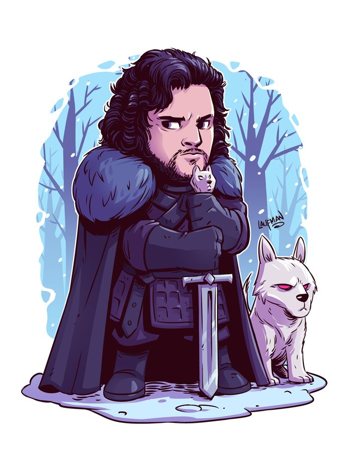 Chibi Jon Snow and Ghost by DerekLaufman on DeviantArt