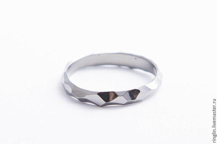 """Купить Кольцо """"Грани металла"""" черное - черный, родий, родиевое покрытие, кольцо"""
