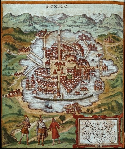 "Map of Mexico - engraving from ""Civitates Orbis Terrarum"" by Georg Braun (1541-1622) and Frans Hogenberg (1535-1590)."